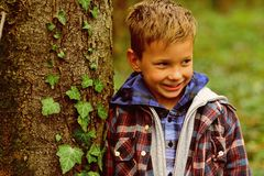 The habit of being happy. Happy boy. Small boy happy smiling on nature. Small child with adorable smile. I like to smile. When its natural royalty free stock images