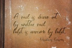 By habit Erasmus. A nail is driven out by another nail; habit is overcome by habit - ancient Dutch philosopher Desiderius Erasmus quote printed on grunge paper royalty free stock images