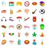 Habit icons set, cartoon style. Habit icons set. Cartoon style of 36 habit vector icons for web isolated on white background Royalty Free Stock Photos