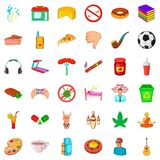 Habit icons set, cartoon style Royalty Free Stock Photos