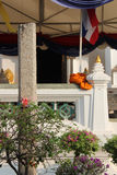 The habit of a monk was put on a balustrade in the courtyard of Wat Na Phra Men in Ayutthaya (Thailand) Stock Image