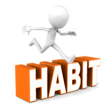 Habit. Overcome your habits, little man jumping over habit word Royalty Free Stock Image