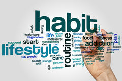 Habit word cloud. Concept on grey background royalty free stock photo