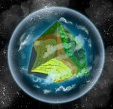 Habitable cube planet - voxel 3d. 3d image of a habitable alien planet made in retro voxel style. Shaped like a cube, it is surrounded with atmosphere and lots royalty free illustration