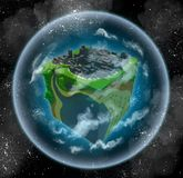 Habitable planet that looks like a cube. 3d image of a habitable alien planet made in retro voxel style. Shaped like a cube, it is surrounded with atmosphere and Stock Images