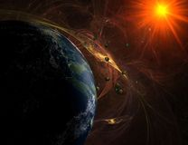 Habitable planet in red nebula with asteroids Royalty Free Stock Photos