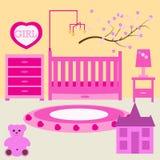 Habitación del niño para la muchacha recién nacida Dormitorio del bebé con muebles Imagenes de archivo