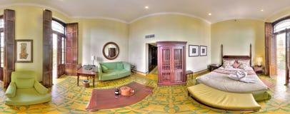 Habitación menor en el hotel de Saratoga - panorama de 360 grados Foto de archivo libre de regalías