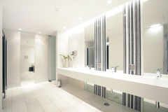 Habitación moderna de lujo del cuarto de baño con el baño y el wc Imágenes de archivo libres de regalías