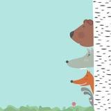 Habitantes del bosque y situación ambiental: los animales se refieren para su bosque stock de ilustración