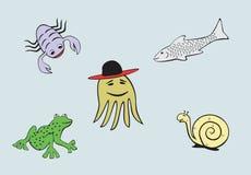 Habitantes del mar y del río libre illustration