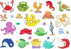 Habitantes y submarino del océano Pulpo, medusa, estrellas de mar, s Fotografía de archivo