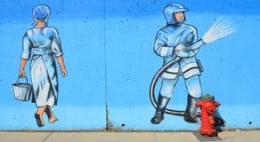 Habitants de Montréal d'art de rue Photos stock