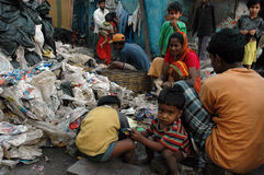 Habitants de taudis de la Kolkata-Inde Photographie stock libre de droits