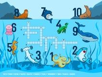 """Habitants des mots croisé des enfants """"des mers et des océans avec l'image des animaux marins illustration stock"""