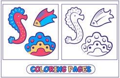 Habitants marins colorant pages7 Images libres de droits