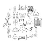 Habitat of animals icons set, outline style. Habitat of animals icons set. Outline set of 25 habitat of animals icons for web isolated on white background Stock Images