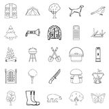 Habitat of animals icons set, outline style Stock Photography