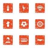 Habitat icons set, grunge style. Habitat icons set. Grunge set of 9 habitat vector icons for web isolated on white background Royalty Free Stock Photo