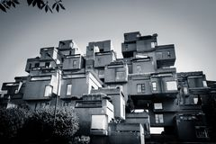 Habitat 67 - minimalist modernism in Montreal. The modernist architectural landmark in Montreal created by Moshe Safdie. Smaller cubes form an intricate building Stock Image