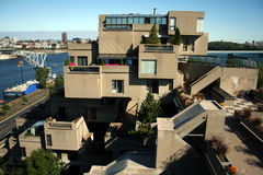 Habitat 67 in Montreal, Canada. A famous housing complex, architectural landmark, built for Expo 67, the World's Fair Royalty Free Stock Images