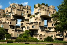 Habitat 67 in Montreal in Canada. MONTREAL, CANADA - JULY 15, 2017:  Habitat 67 is a housing complex in Montreal of 354 identical, prefabricated concrete forms Stock Photos