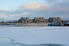 Habitat 67. MONTREAL DEC. 08: A view of Habitat 67 on dec. 08, 2013 in Montreal, Quebec, CA. Habitat 67 is considered a landmark and one of the most recognizable Stock Photography