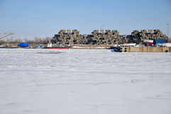 Habitat 67. MONTREAL DEC. 08: A view of Habitat 67 on dec. 08, 2013 in Montreal, Quebec, CA. Habitat 67 is considered a landmark and one of the most recognizable Stock Image