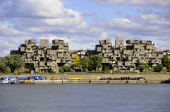 Habitat 67. MONTREAL-SEPT. 03: A view of Habitat 67 on Sept 03, 2012 in Montreal, Quebec, CA. Habitat 67 is considered a landmark and one of the most Royalty Free Stock Photo