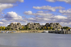 Habitat 67. MONTREAL-SEPT. 03: A view of Habitat 67 on Sept 03, 2012 in Montreal, Quebec, CA. Habitat 67 is considered a landmark and one of the most Royalty Free Stock Images