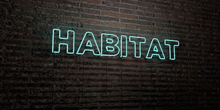 HABITAT -Realistic Neon Sign on Brick Wall background - 3D rendered royalty free stock image. Can be used for online banner ads and direct mailers Royalty Free Stock Photography