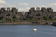 Habitat 67 by Saint Lawrence River in Montreal. Habitat 67 housing complex in Montreal in Canada Stock Photo