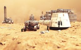 Habitat settlement research and living quarters on the desolate red planet of Mars. 3d rendering illustration Stock Photos