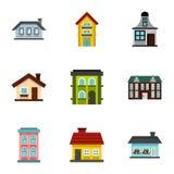 Habitation icons set, flat style Stock Images