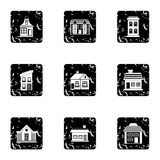 Habitation icons set, grunge style Royalty Free Stock Photos