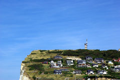Habitations on a cliff in Fecamp Stock Image