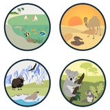 Habitats of the World vector set. Illustration Royalty Free Stock Photography