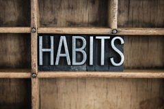 Habits Concept Metal Letterpress Word in Drawer Stock Photos