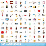 100 habits icons set, cartoon style. 100 habits icons set in cartoon style for any design vector illustration royalty free illustration