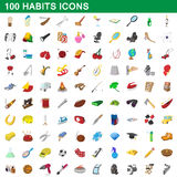 100 habits icons set, cartoon style. 100 habits icons set in cartoon style for any design vector illustration Royalty Free Stock Image