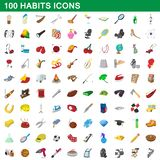 100 habits icons set, cartoon style. 100 habits icons set in cartoon style for any design illustration vector illustration