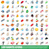 100 habits icons set, isometric 3d style. 100 habits icons set in isometric 3d style for any design vector illustration Stock Photo