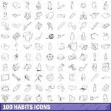 100 habits icons set, outline style. 100 habits icons set in outline style for any design vector illustration Royalty Free Stock Photos