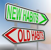Habits old new, road sign, red green vector illustration