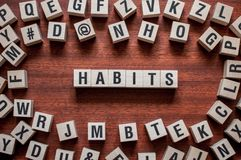 Habits word concept on cubes royalty free stock photo