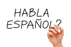 Habla Espanol. Hand writing Habla Espanol? question with black marker on transparent wipe board Royalty Free Stock Photo