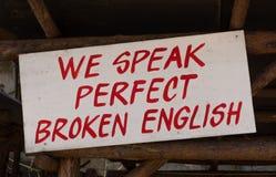 Hablamos inglés roto perfecto imagenes de archivo