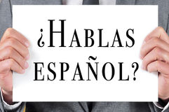 Hablas espanol ?您是否讲西班牙语?写用西班牙语 库存照片