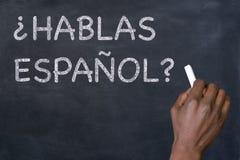 ` Hablas Espanol de question ? ` sur un tableau noir Image stock