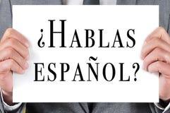 Hablas espanol? talar du spanjor? skriftligt i spanjor Arkivfoto